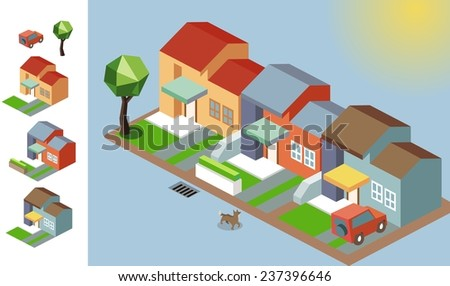 Sunny isometric environment. vector illustration - stock vector