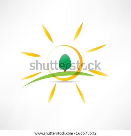 sunny landscape icon - stock vector