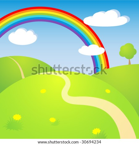 Sunny landscape with rainbow - stock vector