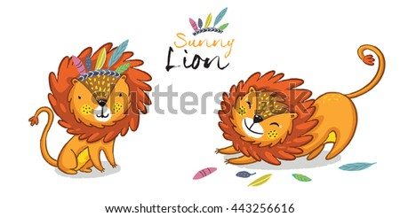 Sunny lion set. King of the jungle. Animal vector illustration