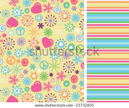 Sunny love and peace seamless repeat - stock vector