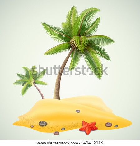 sunny palm beach - stock vector