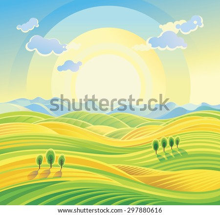 Sunny rural landscape with rolling hills and fields. - stock vector