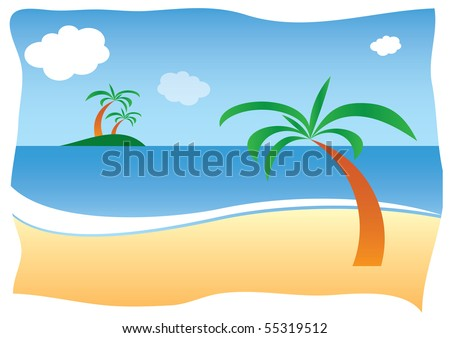 Sunny sand beach with palm
