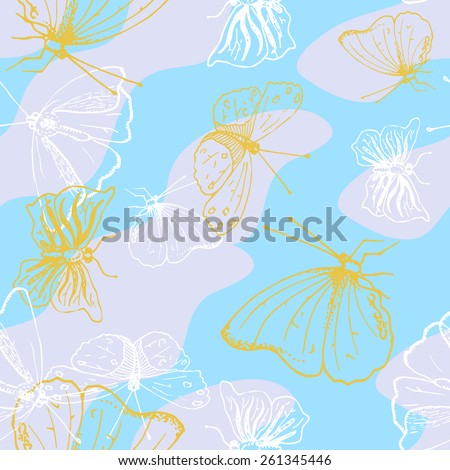Sunny seamless pattern with butterflies