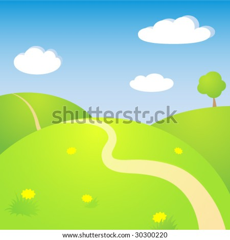 Sunny spring landscape - stock vector