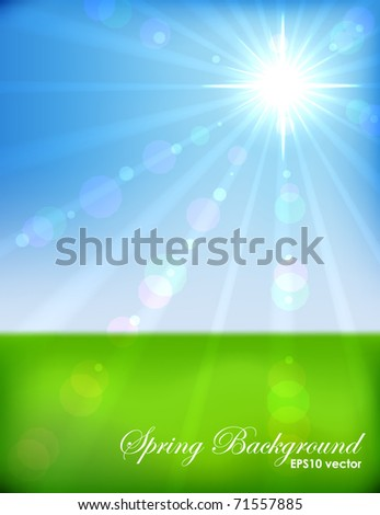 Sunny spring morning vector background. EPS10 file. - stock vector