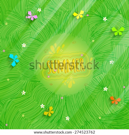 Sunny summer background with the top view. Flowers and butterflies on the meadow.  Vector illustration. - stock vector