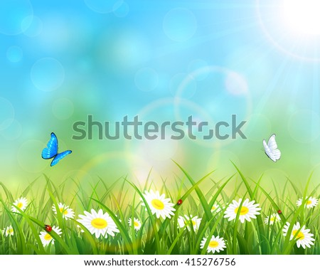 Sunny summer day and blue sky background, butterflies flying above the grass with flowers, illustration. - stock vector