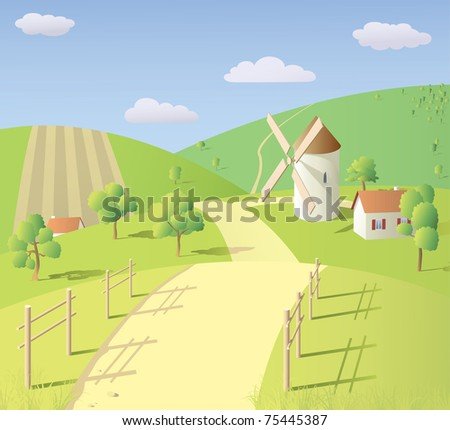 Sunny summer landscape with mill - stock vector