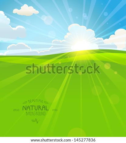 Sunny summer morning with sky and grass - stock vector