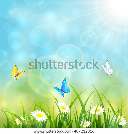 Sunny summer with butterflies flying above the grass with flowers on blue sky background, illustration.