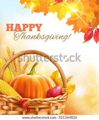 Sunny Thanksgiving Day background. Vector illustration.  - stock vector