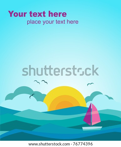 sunny view of ocean with sailing boat, vector illustration