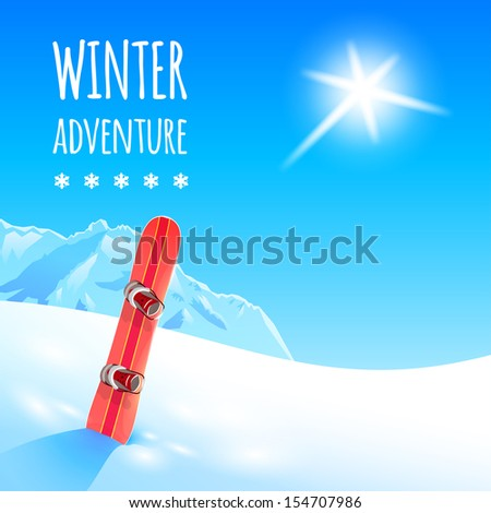 Sunny winter landscape with snowboard, vector illustration, eps10. - stock vector