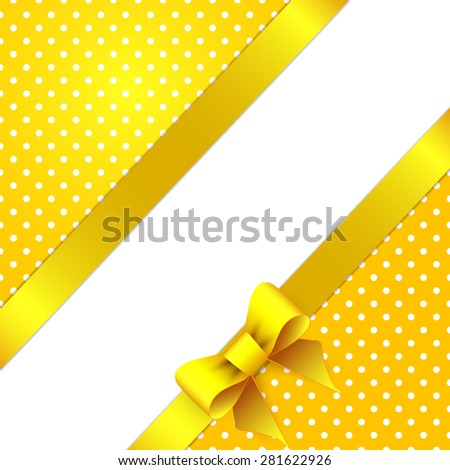 Sunny yellow background with bow - stock vector