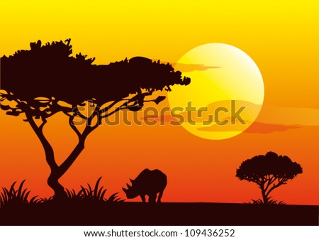 sunrise africa - stock vector
