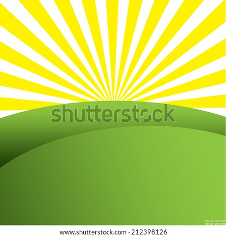 sunrise and green field vector