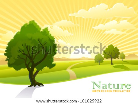 Sunrise and trees with Graphic Wave Background - stock vector