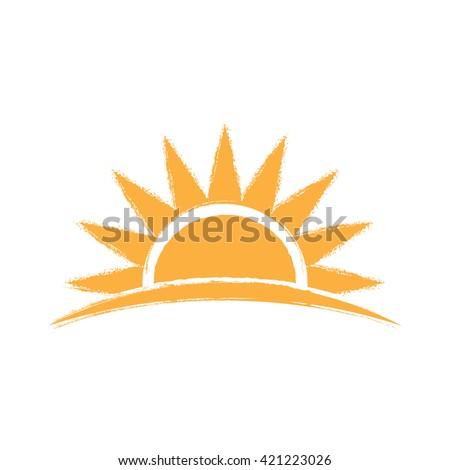 Sunrise hand drawn logo. Vector graphic illustration - stock vector