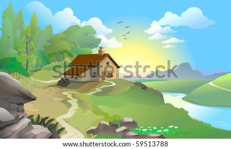 Sunrise in a Fairy Land - stock vector