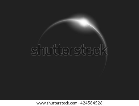 Sunrise in deep and dark space - stock vector