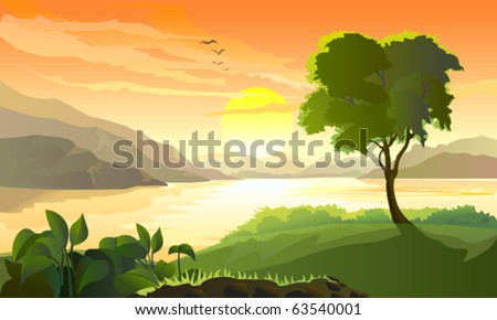 SUNRISE IN HILLS AND YOUNG TREE BY LAKE SIDE - stock vector