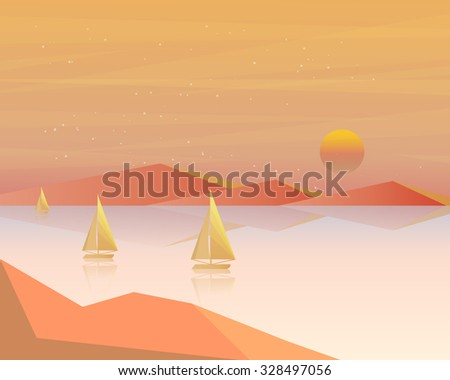 Sunrise in the sea with sailboat. Summer holidays vector background. - stock vector