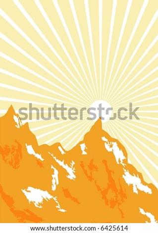 sunrise mountain - stock vector