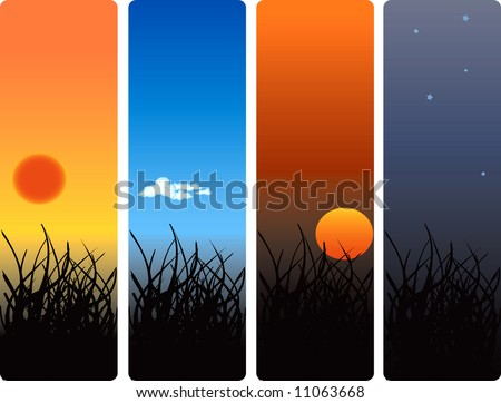 sunrise, noon, sunset and midnight vector-jpeg also available - stock vector