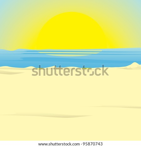 sunrise on ocean. vector illustration - stock vector