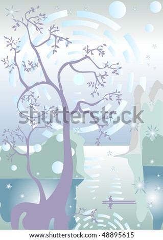 Sunrise on the River in ancient China - stock vector