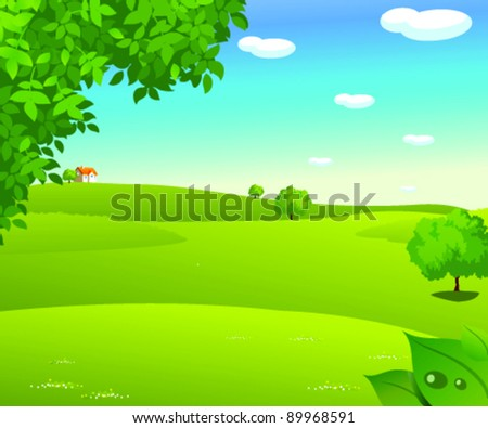 Sunrise over a green landscape - stock vector