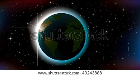 sunrise over planet Earth, seen from space - stock vector