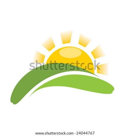 sunrise sun on field - stock vector