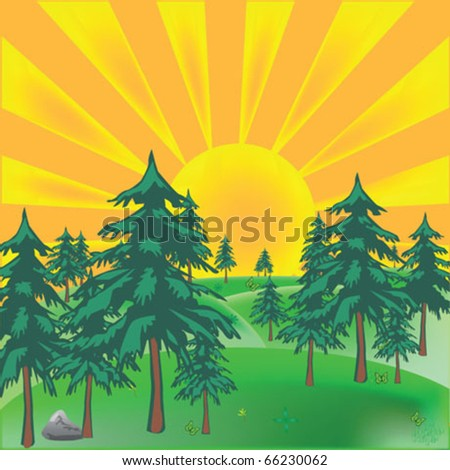 sunrise with forest landscape - stock vector
