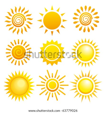 Suns. Elements for design. - stock vector
