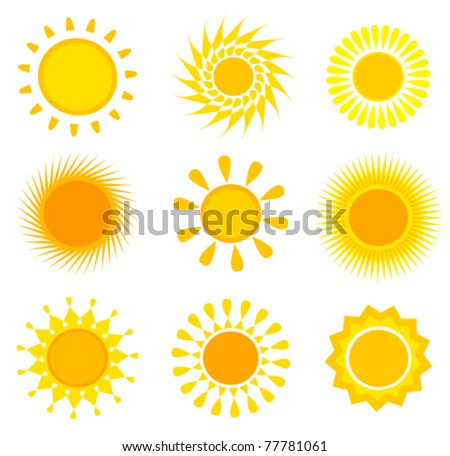 Suns icons collection. Vector illustration - stock vector