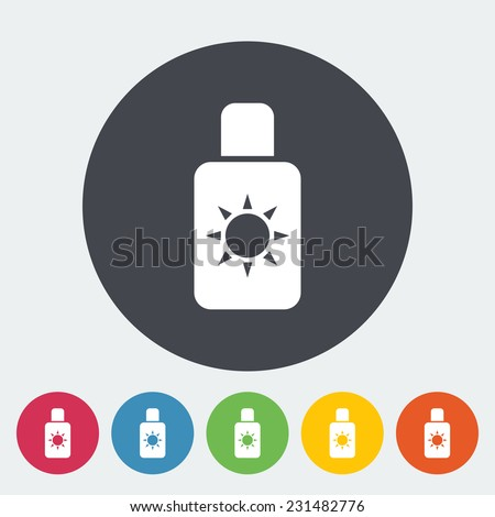 Sunscreen. Single flat icon on the circle. Vector illustration. - stock vector