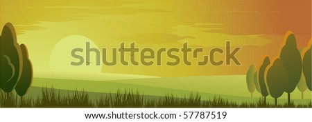 sunset - stock vector