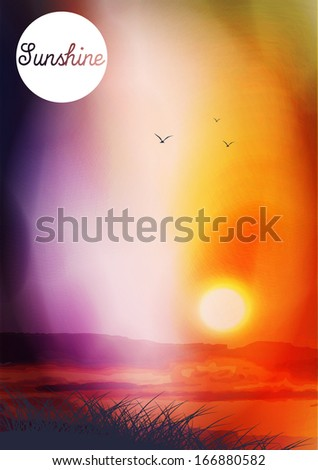 Sunset and Field with Birds - Vector Illustration - stock vector