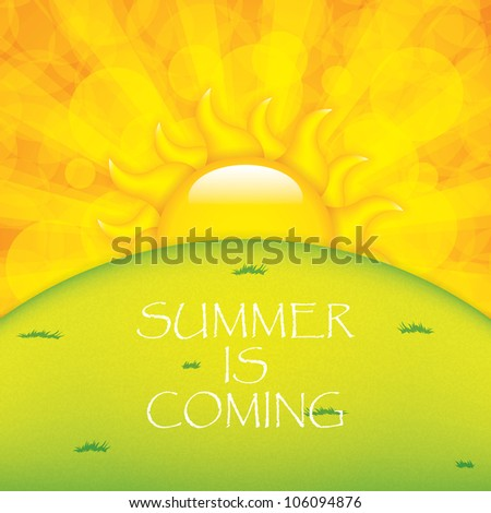 Sunset and horizon.Summer vector - stock vector