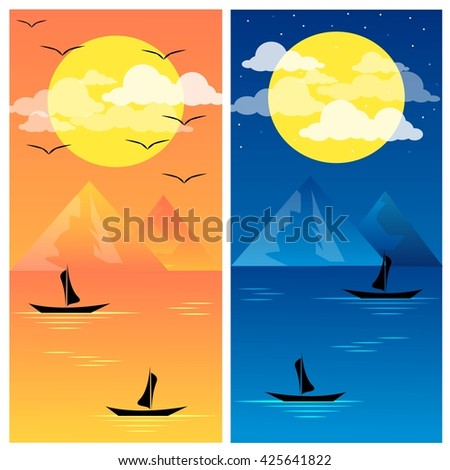 sunset and night vector - stock vector