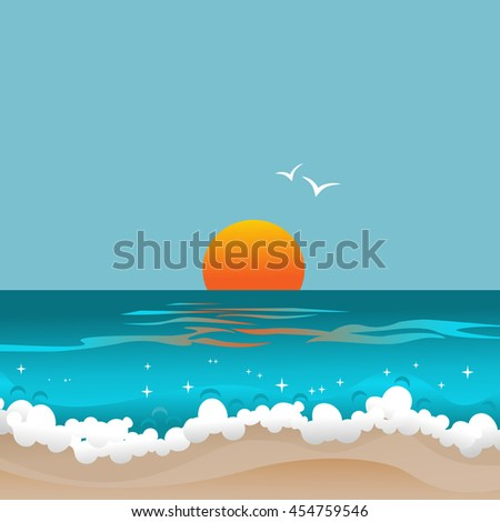 Sunset and ocean. Abstract seascape. Retro card with sun below the horizon of azure waves. Copy space. Vector illustration. - stock vector