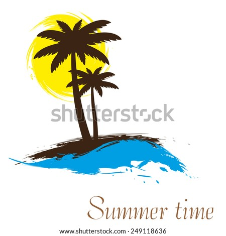 Sunset and palm trees on island, vector illustration - stock vector