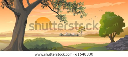 SUNSET  AT SCENIC  HILLSIDE VILLAGE - stock vector
