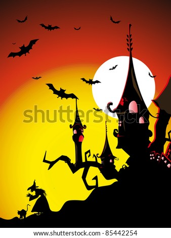sunset background with spooky house, fly owl, witch & cat, vector wallpaper - stock vector