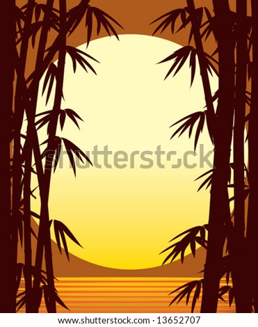 Sunset, bamboo forest and sea, vector - stock vector