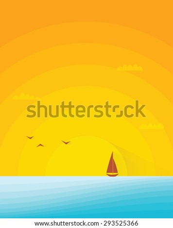 sunset beach image witch boat - stock vector