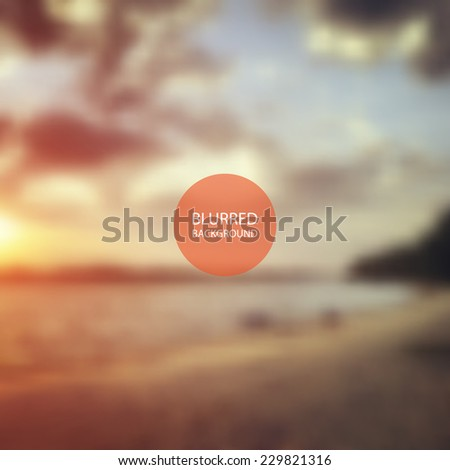 Sunset - Blurred Image Background - stock vector